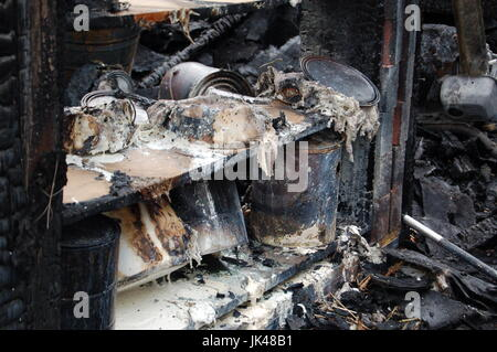 Paint Cans Burned in a Fire - Stock Photo