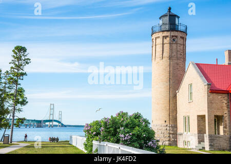 Mackinac Lighthouse and Bridge - Stock Photo