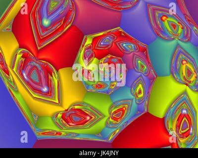 Rainbow Hearts Spiral - Stock Photo