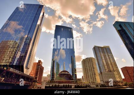 Chicago's West Loop area has seen an explosion of new construction. Chicago, Illinois, USA. - Stock Photo