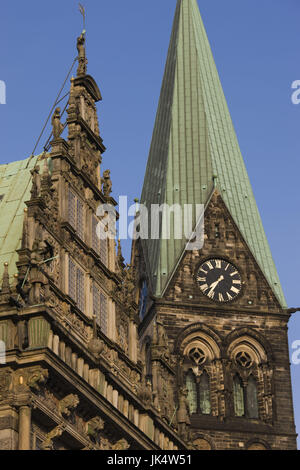 Germany, State of Bremen, Bremen, City Hall and Dom St. Petri cathedral, - Stock Photo