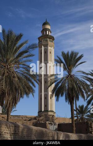 Tunisia, The Jerid Area, Tozeur, Ouled El-Hadef, old quarter, Sidi Abdallah Bou-Jemra mosque - Stock Photo