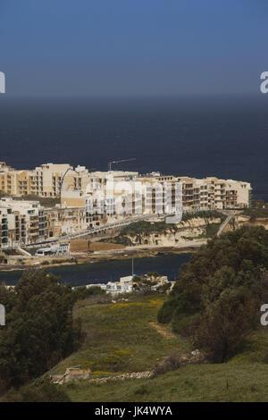 Malta, Gozo Island, Marsalform, elevated view of tourist town - Stock Photo