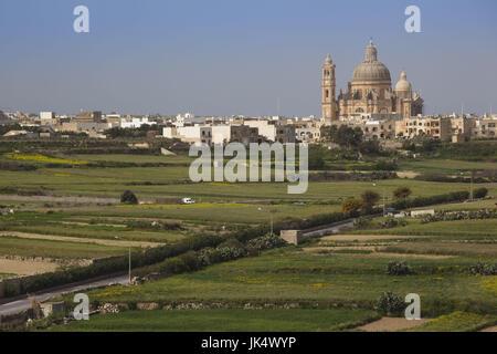 Malta, Gozo Island, Xewkija, elevated view of Rotunda Church - Stock Photo