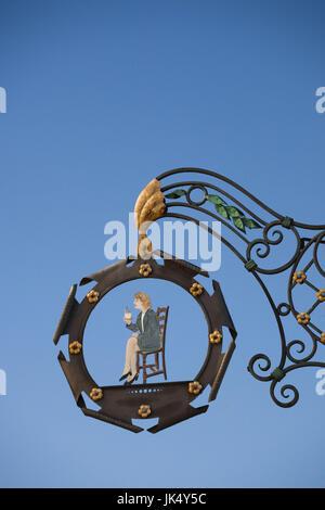 France, Haut-Rhin, Alsace Region, Alasatian Wine Route, Kaysersberg, cafe sign - Stock Photo