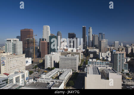 USA, California, Los Angeles, aerial view of downtown from West 11th Street, morning - Stock Photo