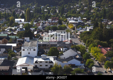 Argentina, Neuquen Province, Lake District, San Martin de los Andes, town view from the east - Stock Photo