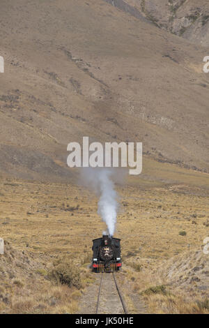 Argentina, Patagonia, Chubut Province, Esquel, La Trochita narrow guage steam train, Old Patagonian Express - Stock Photo
