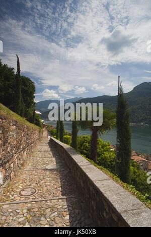 Switzerland, Ticino, Lake Lugano, Morcote, stairs to the  Chiesa Santa Maria del Sasso church - Stock Photo
