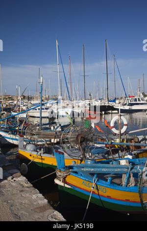 Italy, Sardinia, Western Sardinia, Alghero, fishing port - Stock Photo