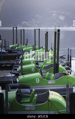 Switzerland, Ticino, Lake Lugano, Lugano, lakefront paddleboats - Stock Photo