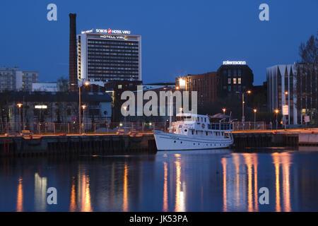 Estonia, Tallinn, city view from Passenger Port, dawn - Stock Photo