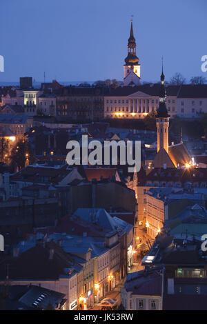 Estonia, Tallinn, Old Town, elevated view over Viru Street, dusk - Stock Photo
