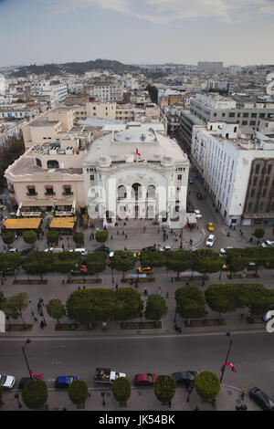 Tunisia, Tunis, Avenue Habib Bourguiba, elevated view of the National Theater - Stock Photo