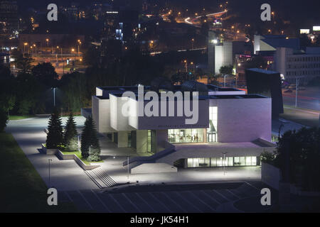 Lithuania, Vilnius, elevated view of National Gallery, evening - Stock Photo