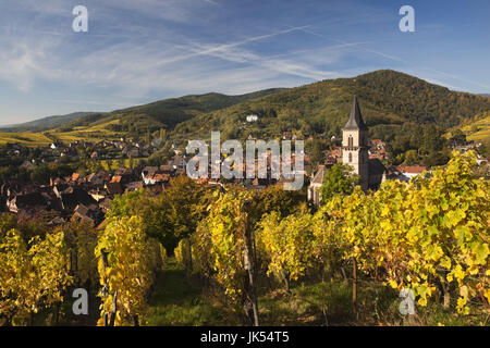 France, Haut-Rhin, Alsace Region, Alasatian Wine Route, Ribeauville, town overview, autumn - Stock Photo