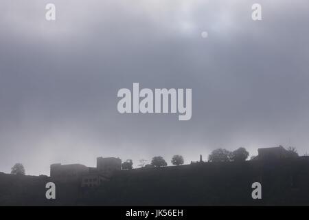Germany, Rheinland-Pfalz, Koblenz, Ehrenbreitstein Fortress in fog, - Stock Photo