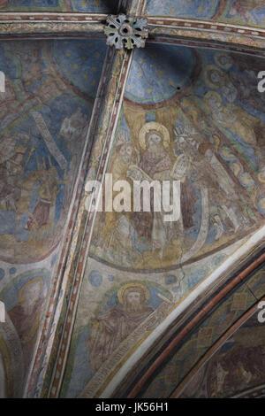 Germany, Nordrhein-Westfalen, Cologne, St. Maria in Lyskirchen church, frescoes, 13th century, - Stock Photo