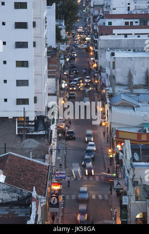 Argentina, Salta Province, Salta, Calle Buenos Aires traffic, aerial, evening - Stock Photo