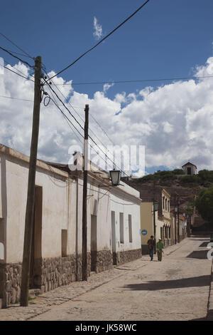 Argentina, Jujuy Province, Quebrada de Humamuaca canyon, Humahuaca, street detail - Stock Photo