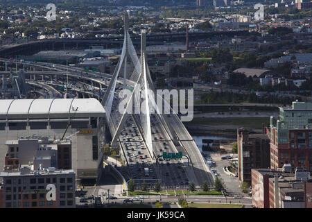 USA, Massachusetts, Boston, Leonard Zakim Bridge and Rt. 93, high angle view - Stock Photo