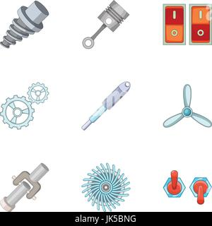 Car parts icons set. Cartoon set of 9 car parts vector icons for web isolated on white background - Stock Photo