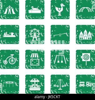 Amusement park icons set in grunge style green isolated vector illustration - Stock Photo