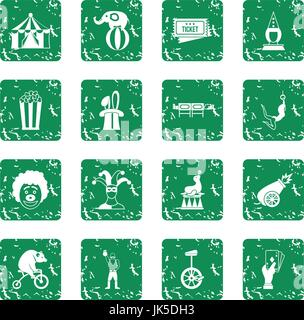 Circus entertainment icons set in grunge style green isolated vector illustration - Stock Photo