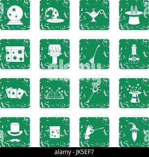Magic icons set in grunge style green isolated vector illustration - Stock Photo