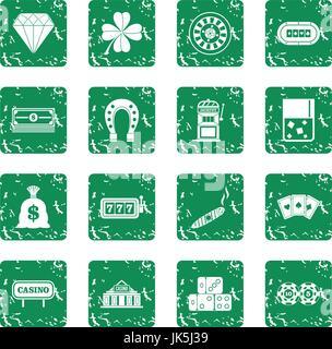 Casino icons set grunge - Stock Photo