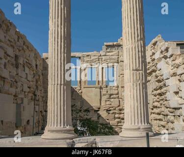 Athens, Greece. 30th Sep, 2004. Detail of the base of the marble Ionic columns on the east side of the ancient Greek - Stock Photo