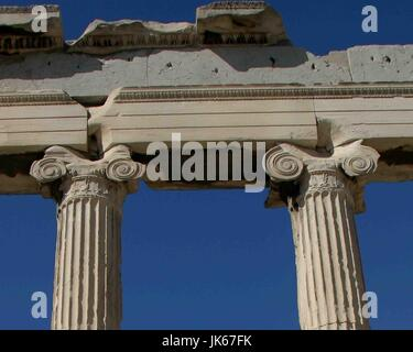 Athens, Greece. 30th Sep, 2004. Detail of the tops of the marble Ionic columns on the east side of the ancient Greek - Stock Photo