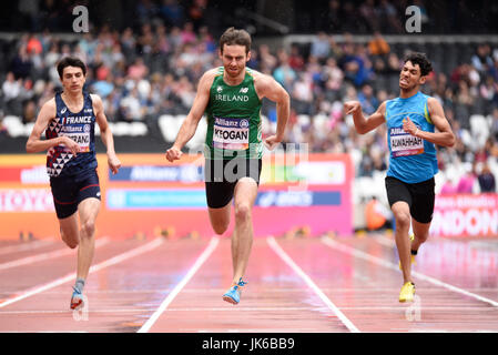 Irish athlete Paul Keogan in 400m T37 heat on a wet track at the World Para Athletics Championships in the London - Stock Photo