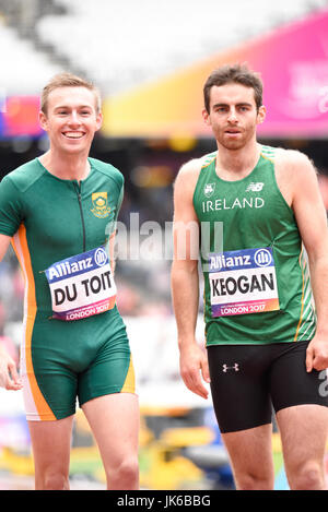 Irish athlete Paul Keogan and charl du toit in 400m T37 heat at the World Para Athletics Championships in the London - Stock Photo