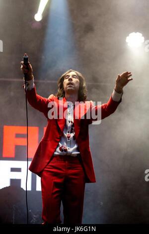 22nd, July, 2017. Sheffield, UK. Primal Scream headline the main stage at the Sheffield Tramlines Festival. © Gary - Stock Photo