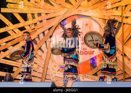 Vancouver, Canada. 22nd July, 2017. Musqueam Wolf Pack Dance group. The Drum is Calling Festival, Canada 150+ event, - Stock Photo