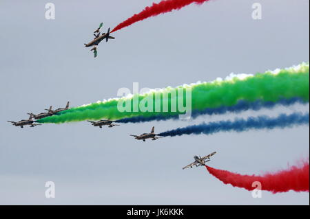 MOSCOW REGION, RUSSIA - JULY 22, 2017: Aermacchi MB-339 military trainer and light attack aircraft of the Al Fursan - Stock Photo