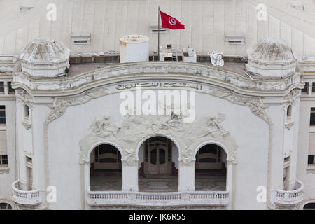 Tunisia, Tunis, Avenue Habib Bourguiba, elevated view National Theater - Stock Photo
