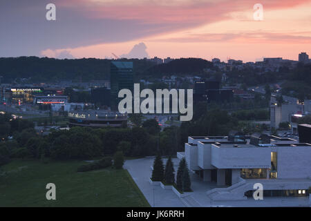 Lithuania, Vilnius, elevated view of National Gallery, dusk - Stock Photo