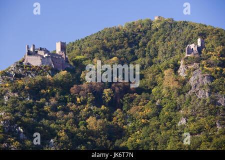 France, Haut-Rhin, Alsace Region, Alasatian Wine Route, Ribeauville, castle ruins - Stock Photo