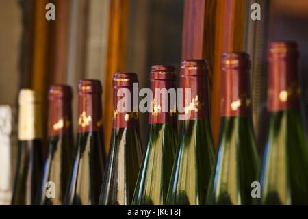 France, Haut-Rhin, Alsace Region, Alasatian Wine Route, Kaysersberg, wine bottles - Stock Photo