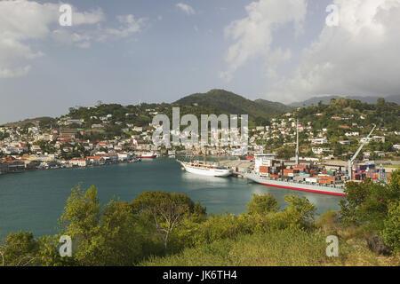 Grenada, St. George's, Stadtansicht, Hafen  Karibik, Westindische Inseln, Kleine Antillen, Inseln über dem Winde, - Stock Photo
