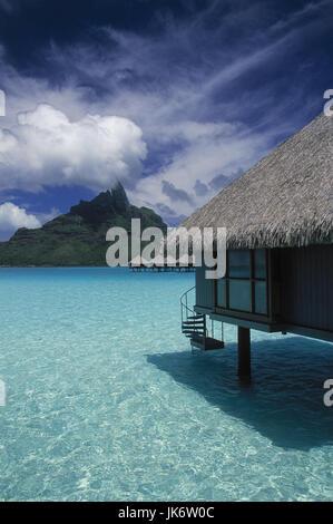 Französisch-Polynesien, Bora Bora,  Le Meridien Hotel, Bungalow,  Meer außen, Südsee, Südpazifik, Pazifik, Pazifischer - Stock Photo