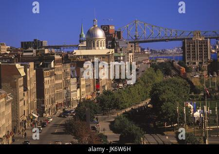 Kanada, Provinz Quebec, Montreal,  Stadtansicht, Sankt-Lorenz-Strom, Brücke Canada, Häuser, Gebäude, Fluss, Saint - Stock Photo