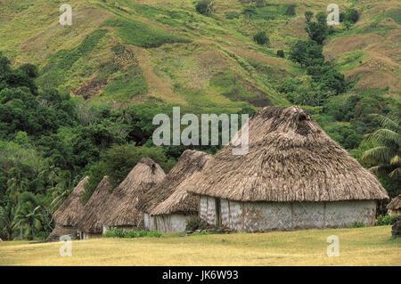 Fidschi Inseln, Viti Levu, Navala, Landschaft, Strohhütten, Reetdächer Südsee, Insel, Dorf, Häuser, Wohnhäuser, - Stock Photo