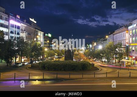 Tschechische Republik, Mittelböhmen,  Praha, Nove Mesto, Wenzelsplatz,  Reiterstandbild, Rückenansicht, Abend Europa, - Stock Photo