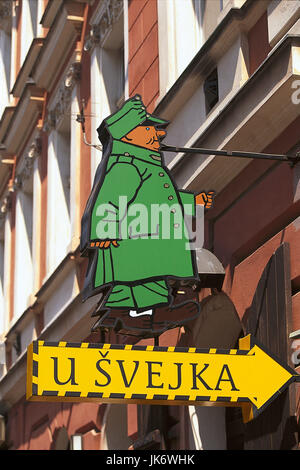 Tschechische Republik, Mittelböhmen,  Praha, Nove Mesto, Restaurant  'U Kalicha', Gasthausschild Europa, Osteuropa, - Stock Photo