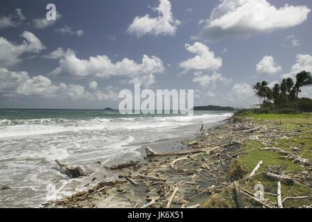 Grenada, Ostküste, Pearls, Great  River Bay, Sandstrand, Wolkenstimmung  Karibik, Westindische Inseln, Kleine Antillen, - Stock Photo