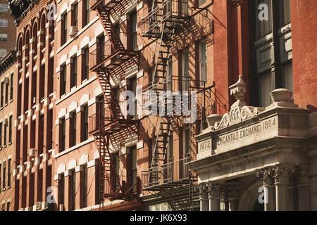 USA, New York City, Manhattan,  Harrison Street, Tribeca-Loft Buildings, New York Mercantile Exchange Building, - Stock Photo