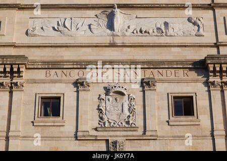 Spain, Cantabria Region, Cantabria Province, Santander, detail of the original Banco de Santander building, largest - Stock Photo
